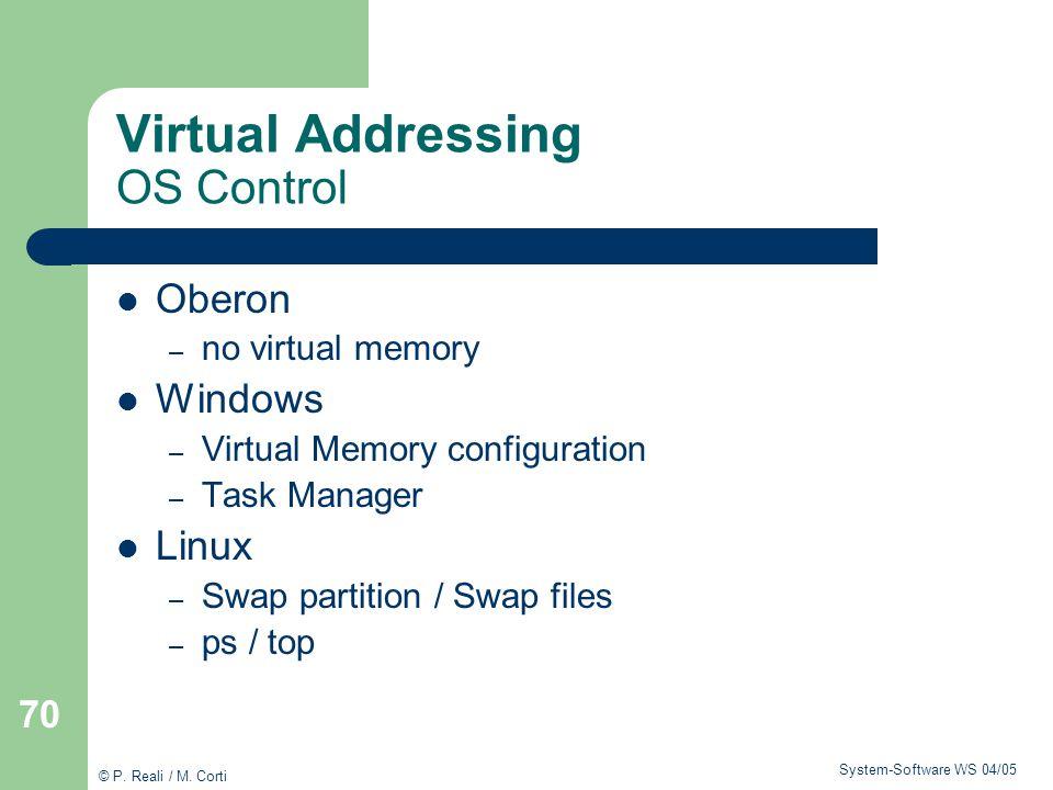 Virtual Addressing OS Control