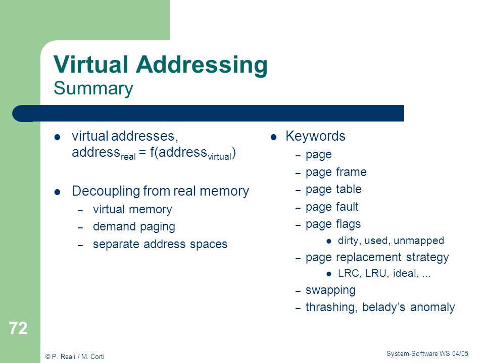 Virtual Addressing Summary