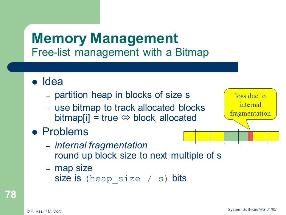 Memory Management Free-list management with a Bitmap
