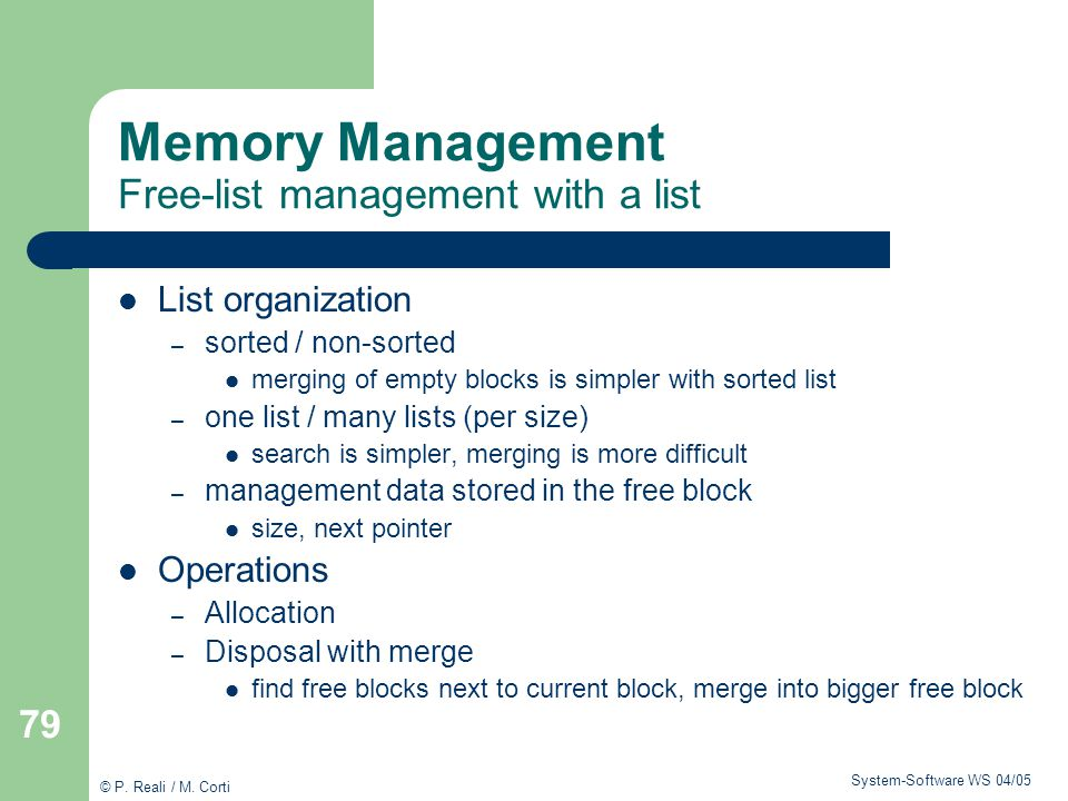 Memory Management Free-list management with a list