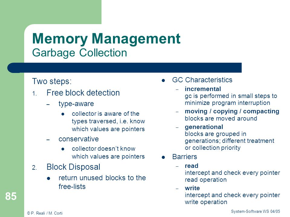 Memory Management Garbage Collection