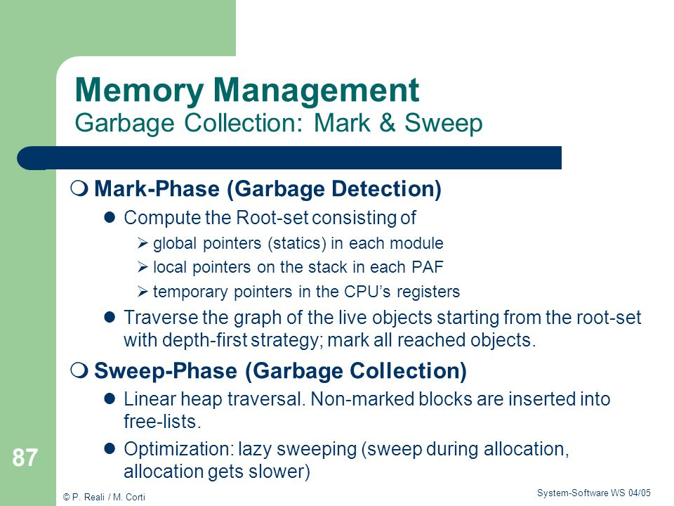 Memory Management Garbage Collection: Mark & Sweep