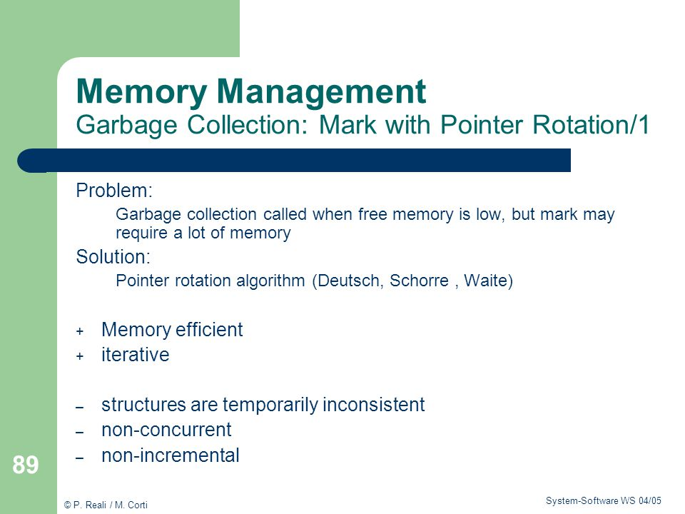 Memory Management Garbage Collection: Mark with Pointer Rotation/1