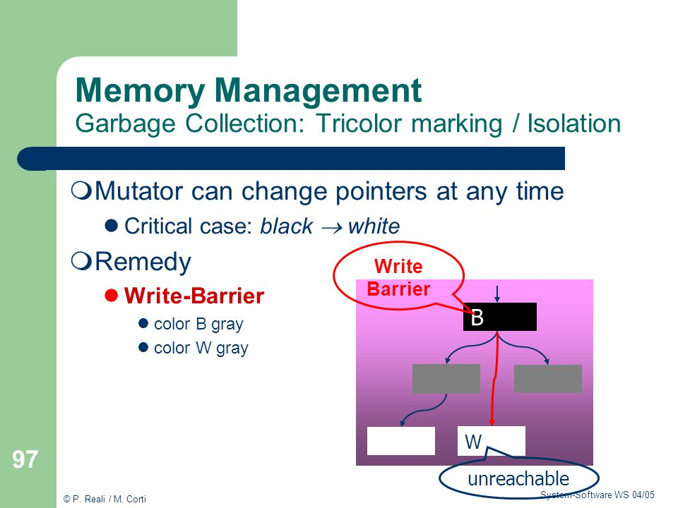Memory Management Garbage Collection: Tricolor marking / Isolation