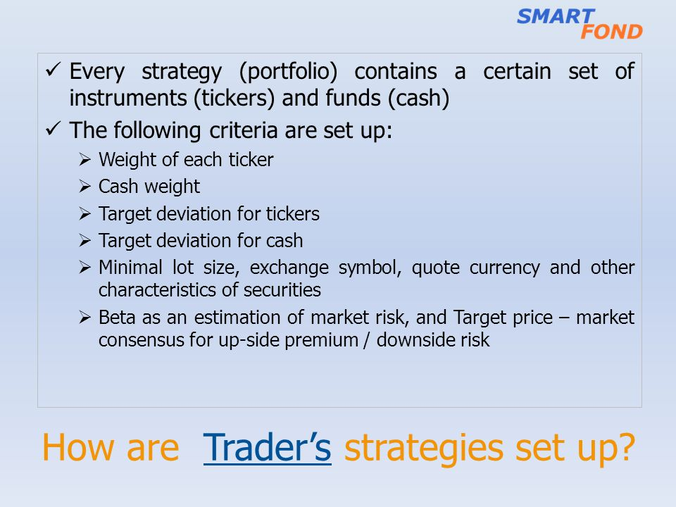 How are Trader's strategies set up