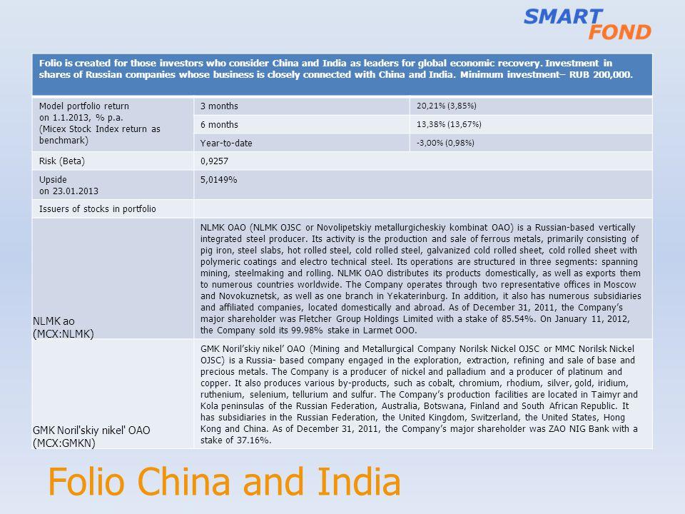 Folio China and India NLMK ao (MCX:NLMK) GMK Noril skiy nikel OAO