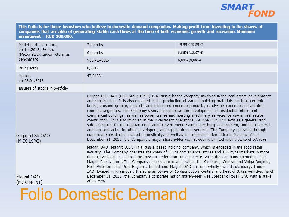 Folio Domestic Demand Gruppa LSR OAO (MCX:LSRG) Magnit OAO (MCX:MGNT)