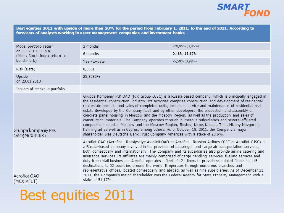 Best equities 2011 Gruppa kompaniy PIK OAO(MCX:PIKK) Aeroflot OAO