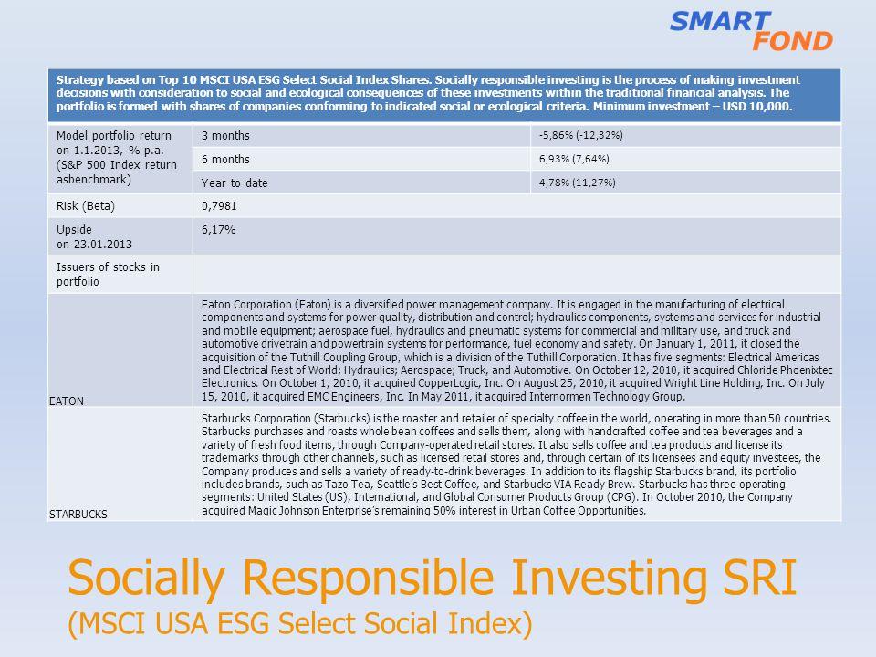 Socially Responsible Investing SRI (MSCI USA ESG Select Social Index)