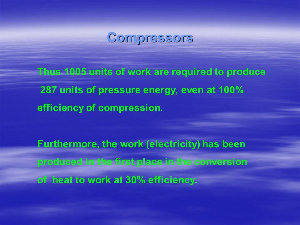 Compressors Thus 1005 units of work are required to produce
