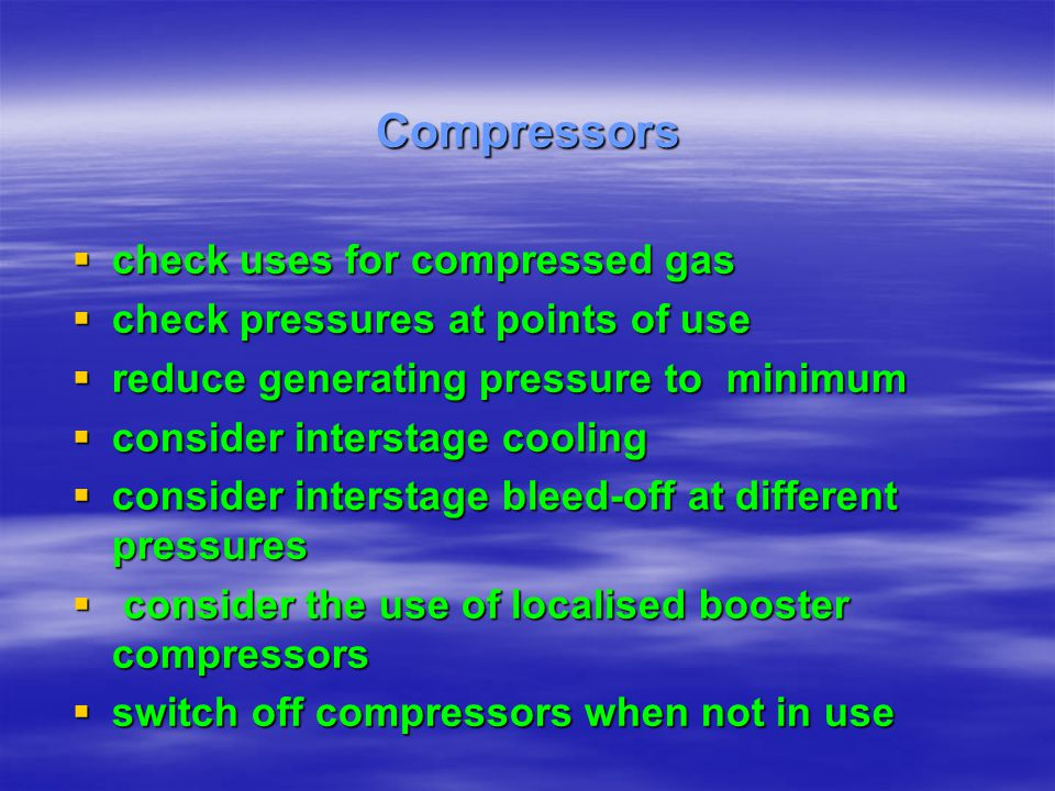 Compressors check uses for compressed gas
