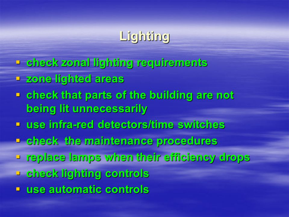 Lighting check zonal lighting requirements zone lighted areas
