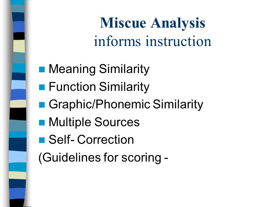 Miscue Analysis informs instruction
