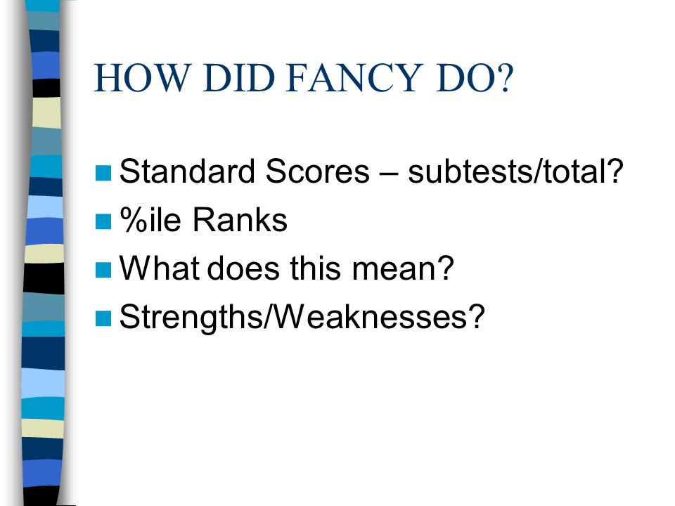 HOW DID FANCY DO Standard Scores – subtests/total %ile Ranks