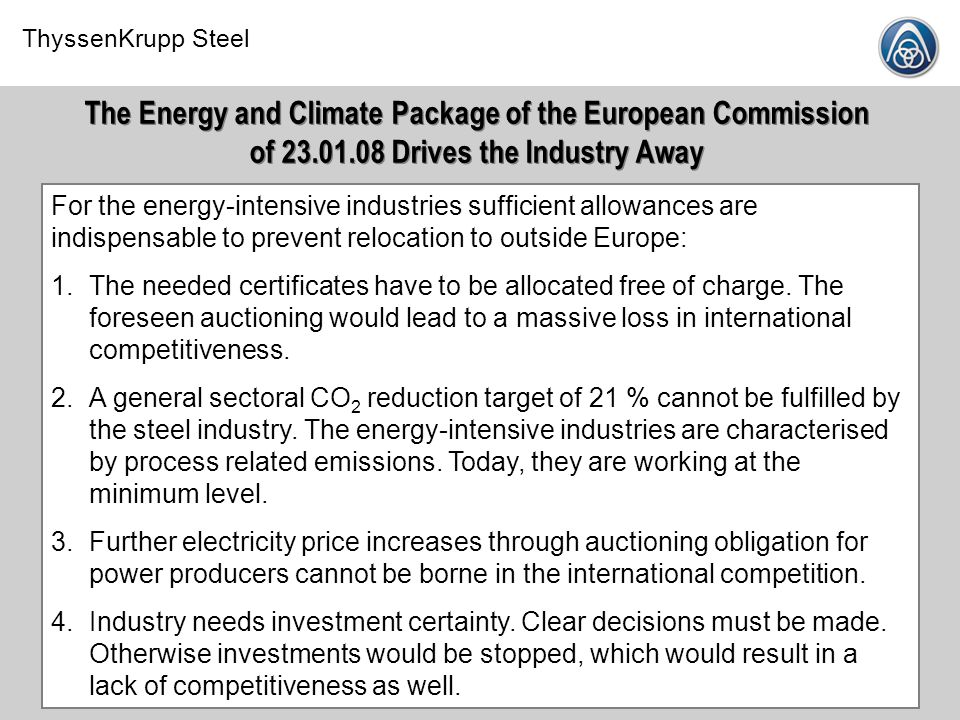 The Energy and Climate Package of the European Commission of 23. 01