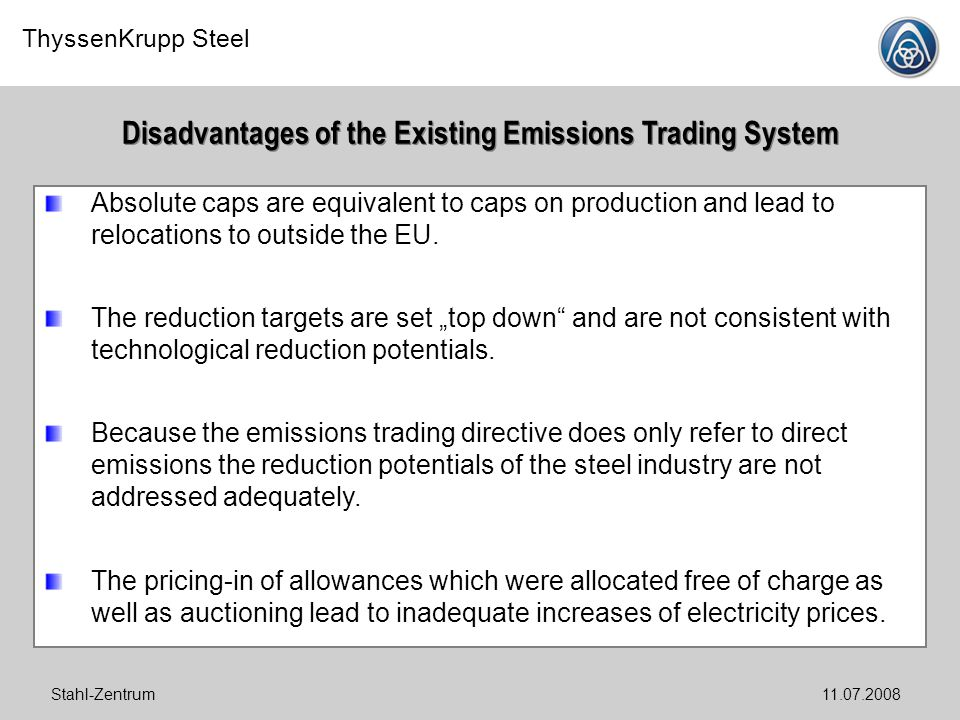 Disadvantages of the Existing Emissions Trading System
