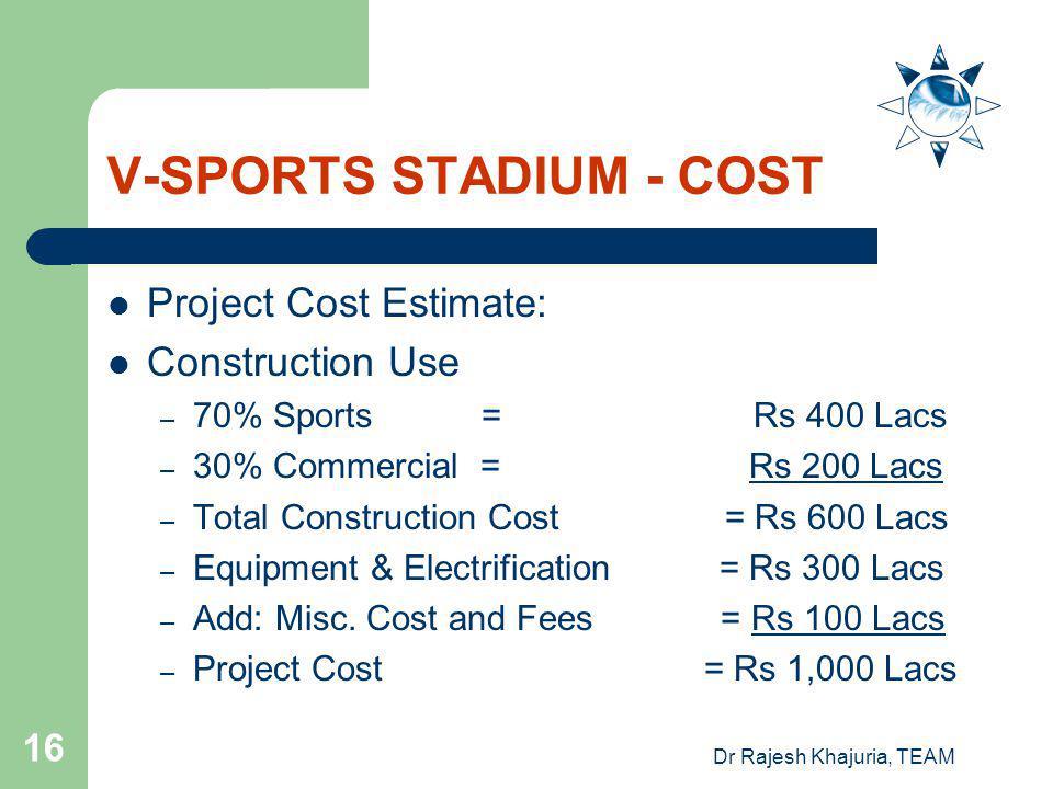 V-SPORTS STADIUM - COST