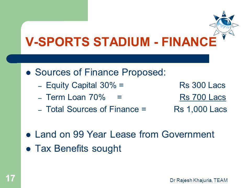 V-SPORTS STADIUM - FINANCE