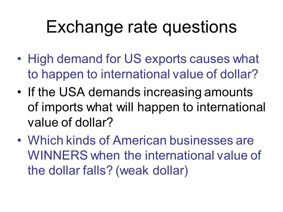 Exchange rate questions
