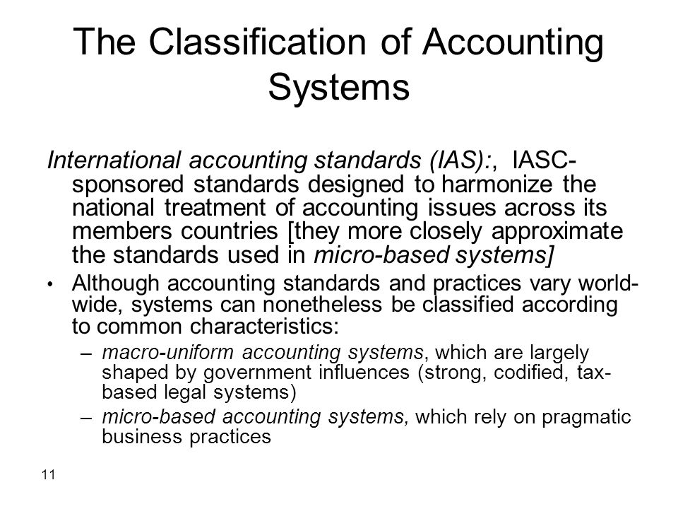 The Classification of Accounting Systems