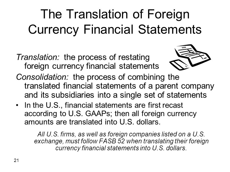 The Translation of Foreign Currency Financial Statements