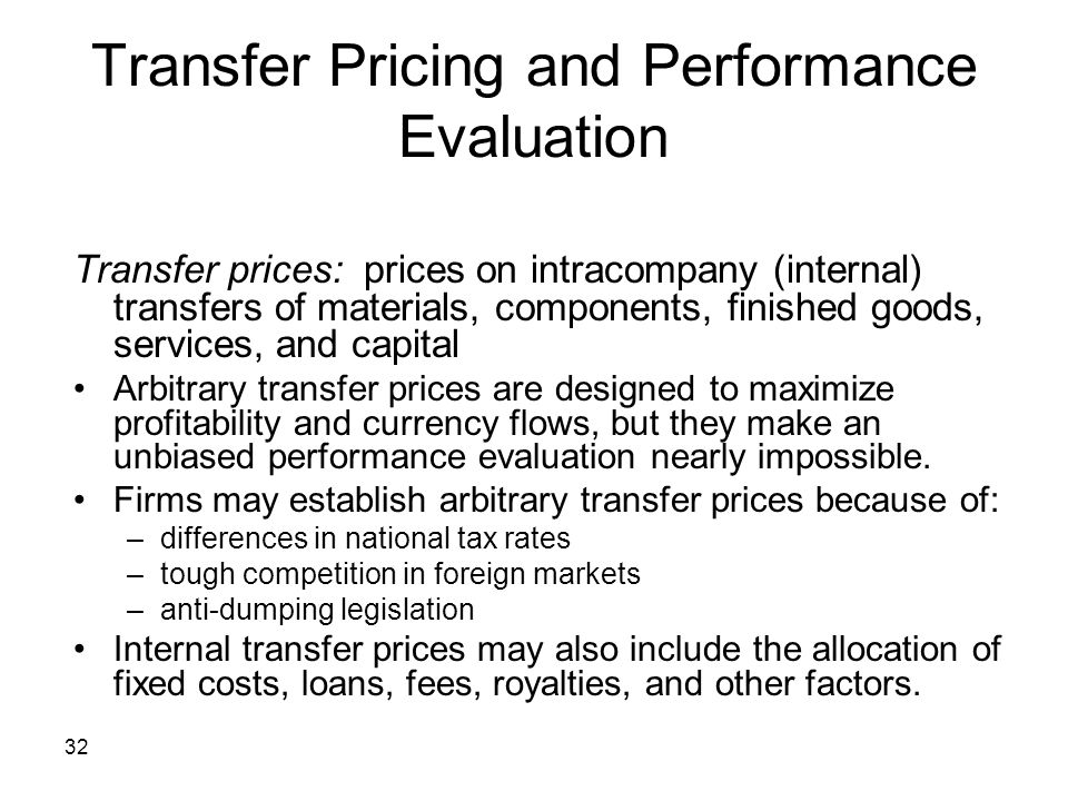 Transfer Pricing and Performance Evaluation