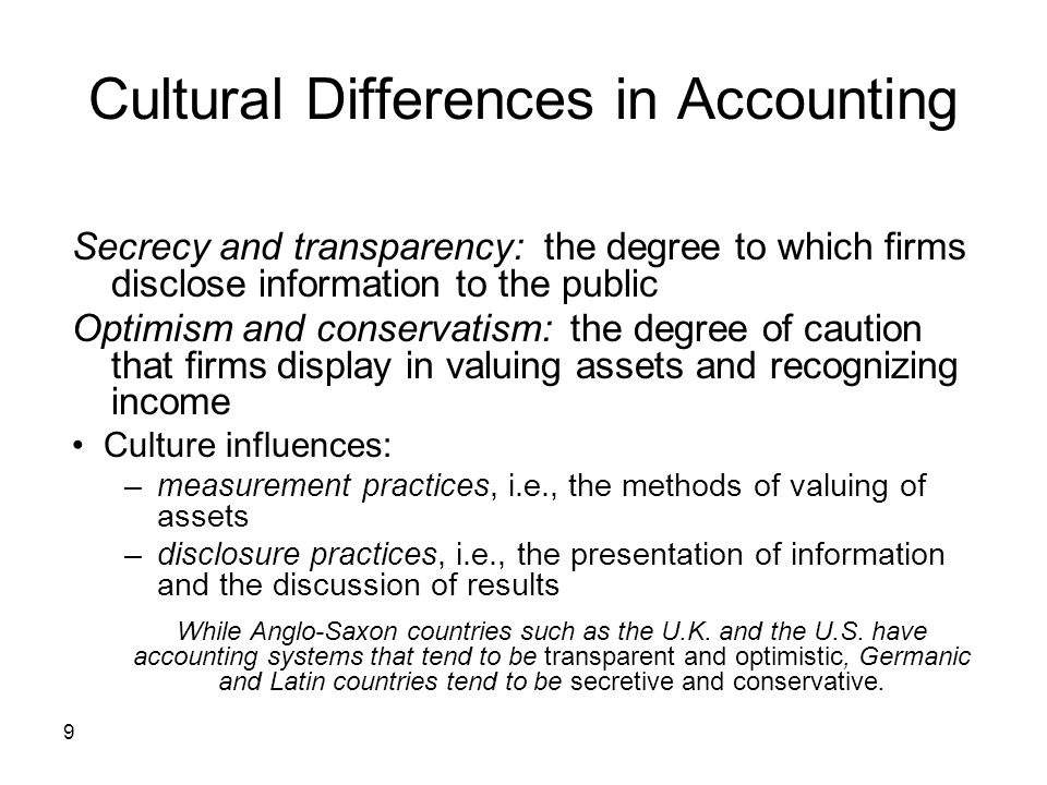 Cultural Differences in Accounting