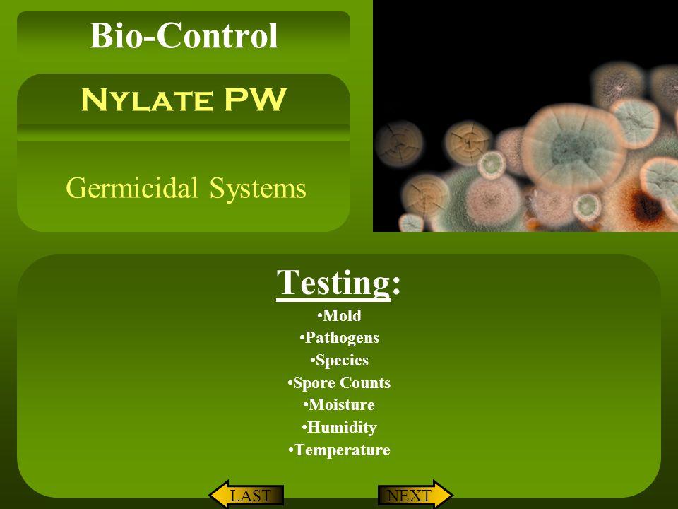 Bio-Control Testing: Nylate PW Germicidal Systems Mold Pathogens