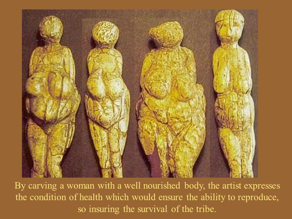 By carving a woman with a well nourished body, the artist expresses the condition of health which would ensure the ability to reproduce, so insuring the survival of the tribe.