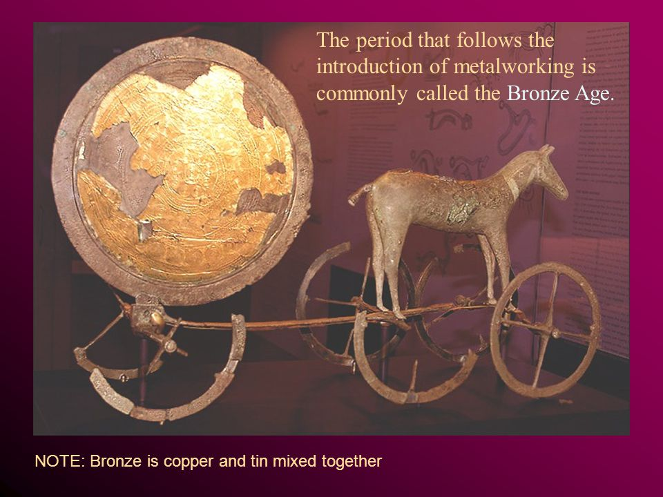 The period that follows the introduction of metalworking is commonly called the Bronze Age.