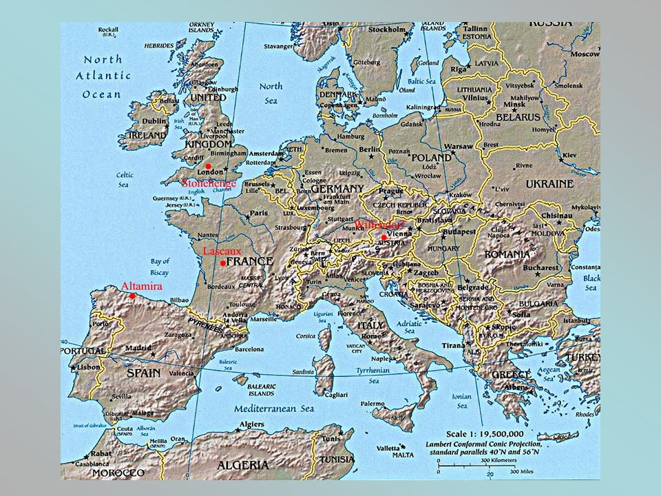 Map of Europe with some sites where prehistoric artifacts were found.
