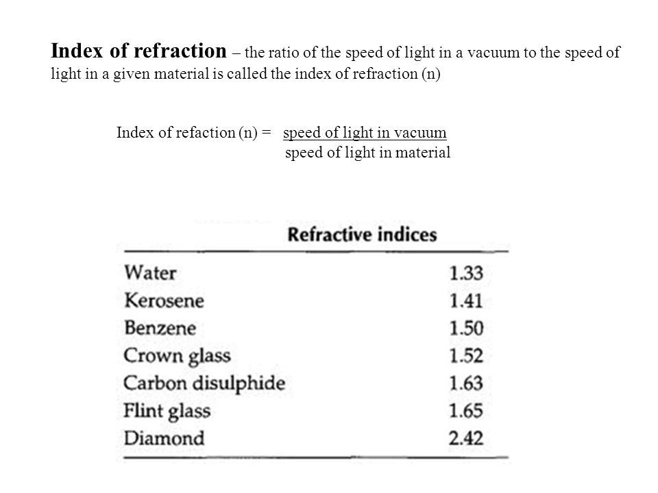 Index of refraction – the ratio of the speed of light in a vacuum to the speed of light in a given material is called the index of refraction (n)