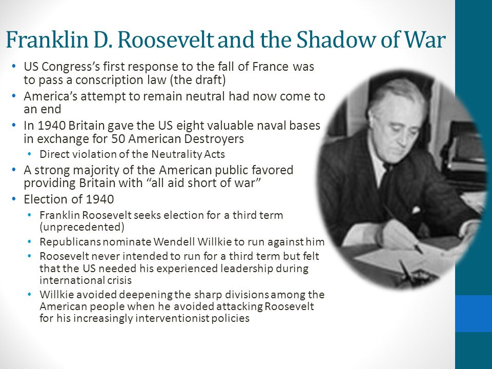 Franklin D. Roosevelt and the Shadow of War