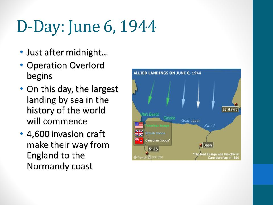 D-Day: June 6, 1944 Just after midnight… Operation Overlord begins