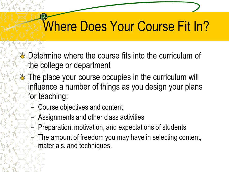 Where Does Your Course Fit In