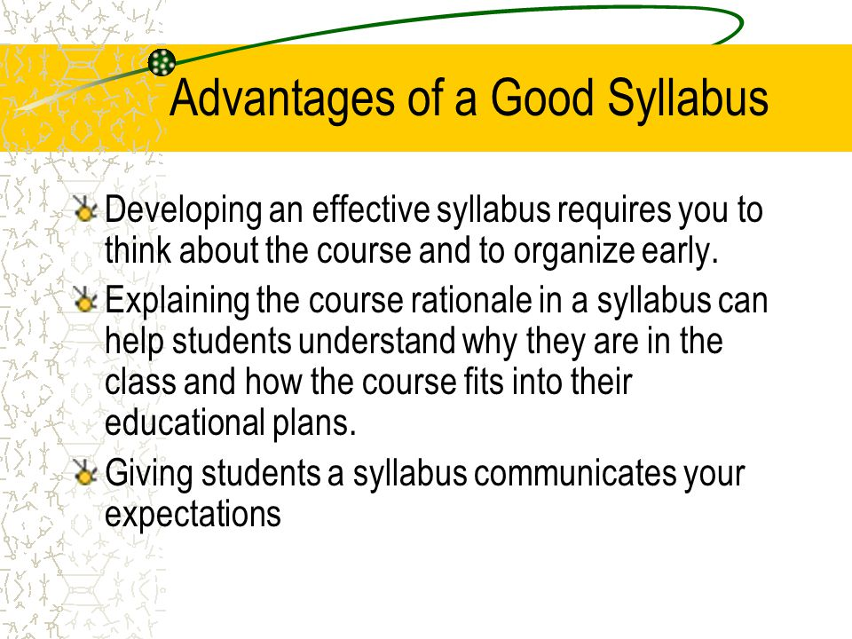 Advantages of a Good Syllabus