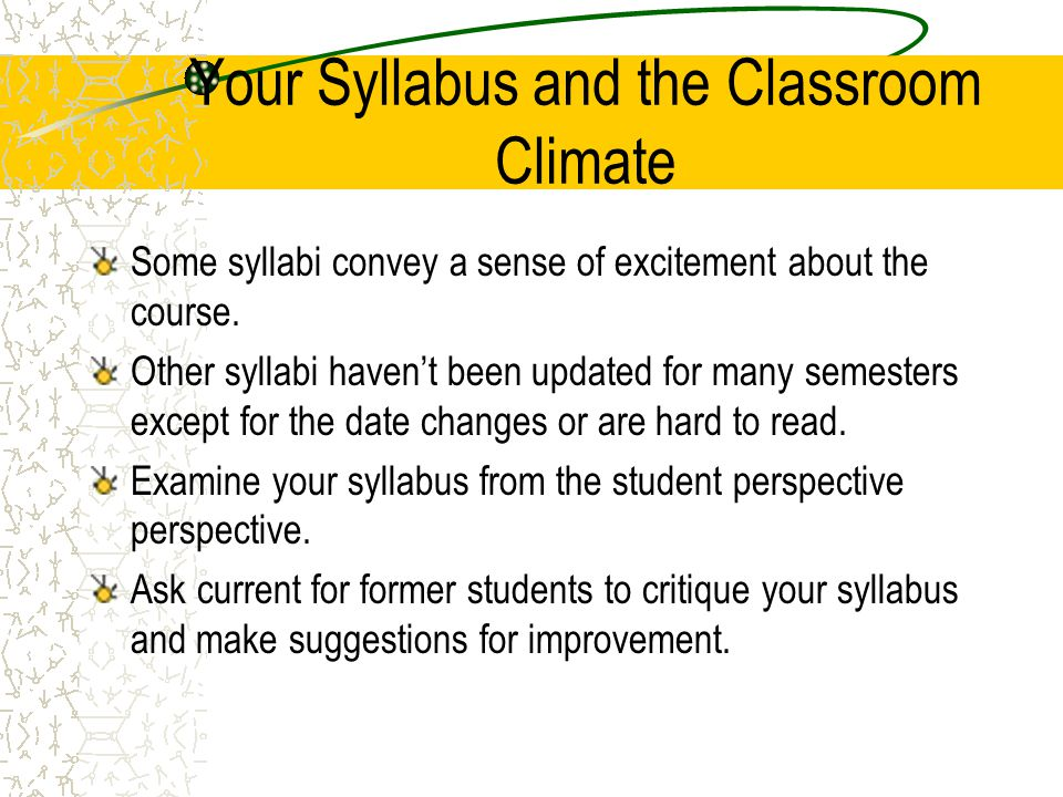 Your Syllabus and the Classroom Climate