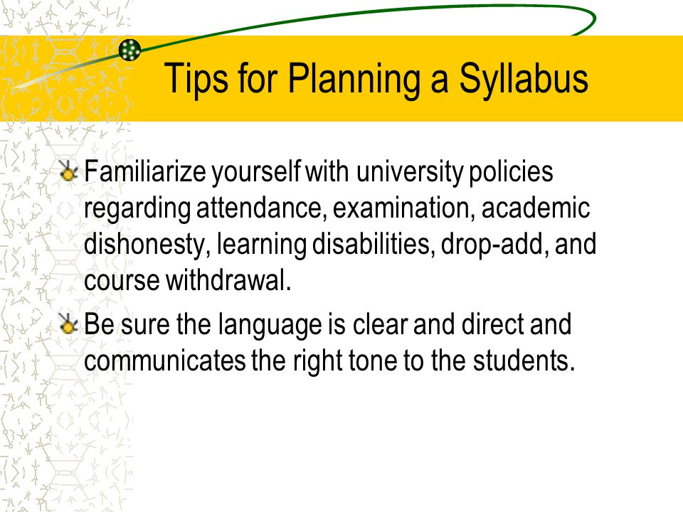 Tips for Planning a Syllabus
