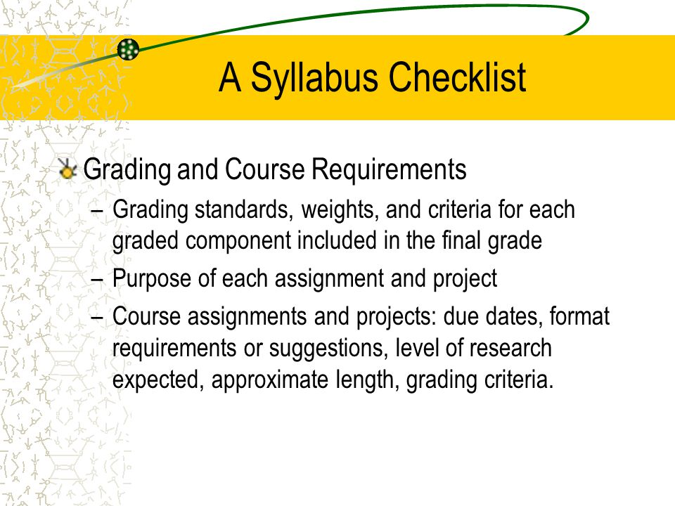 A Syllabus Checklist Grading and Course Requirements