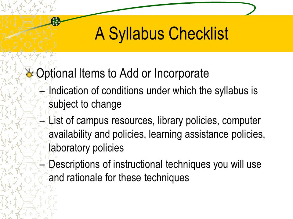 A Syllabus Checklist Optional Items to Add or Incorporate