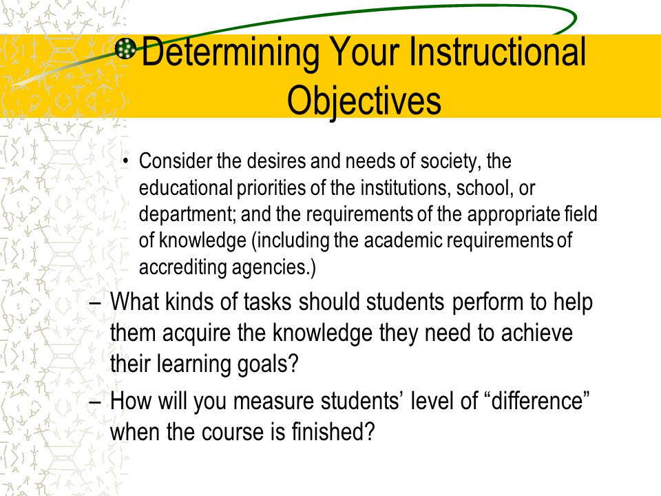 Determining Your Instructional Objectives