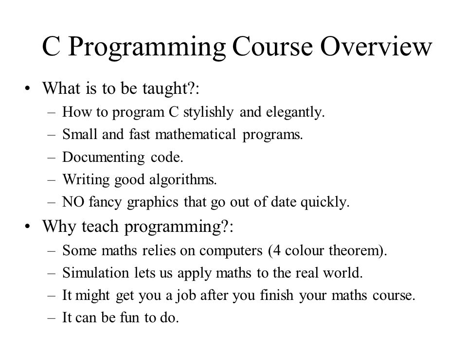 C Programming Course Overview