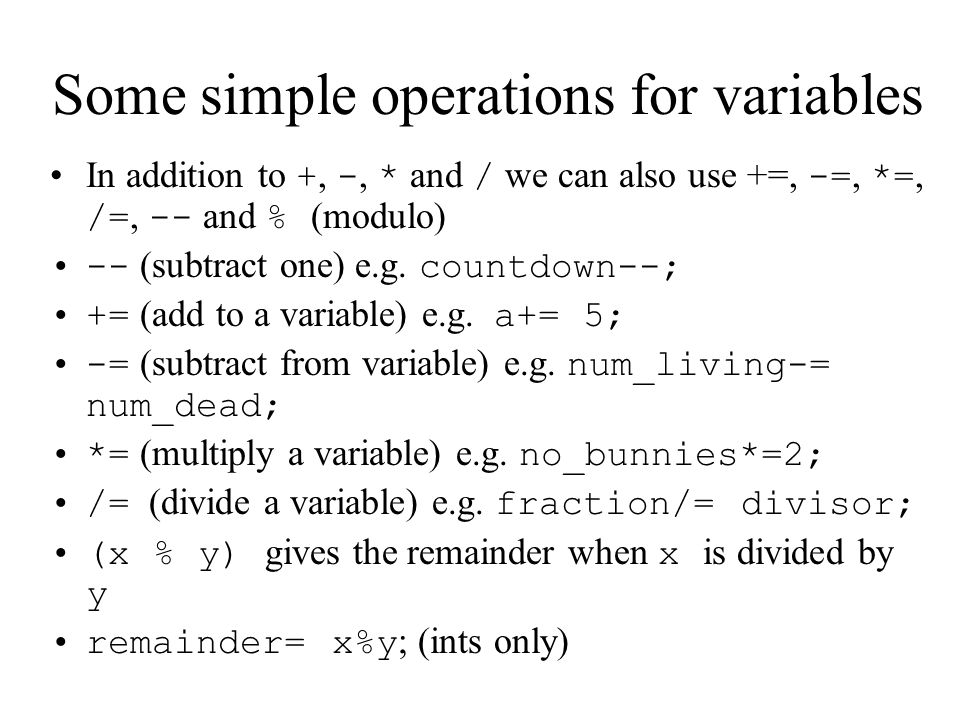 Some simple operations for variables