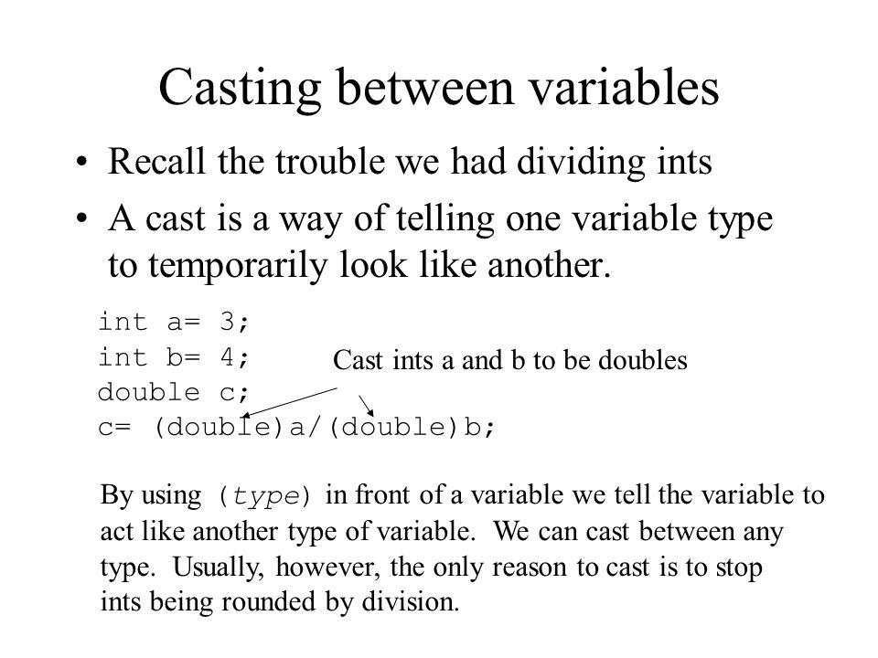 Casting between variables