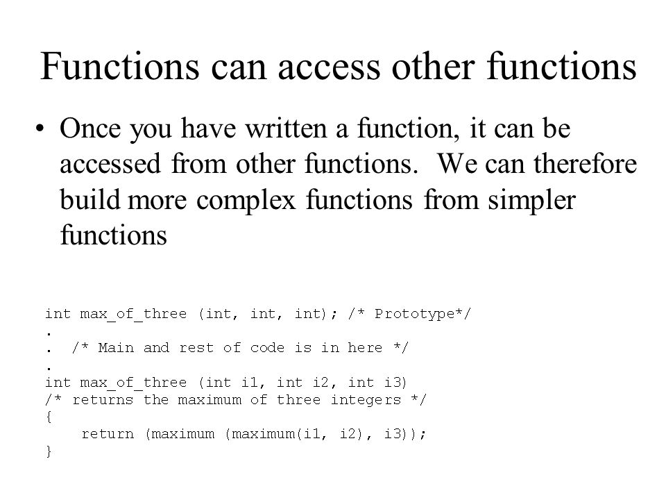 Functions can access other functions