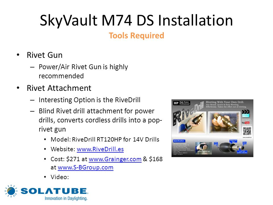 SkyVault M74 DS Installation Tools Required