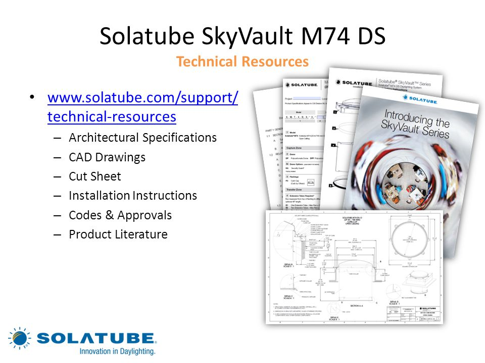 Solatube SkyVault M74 DS Technical Resources