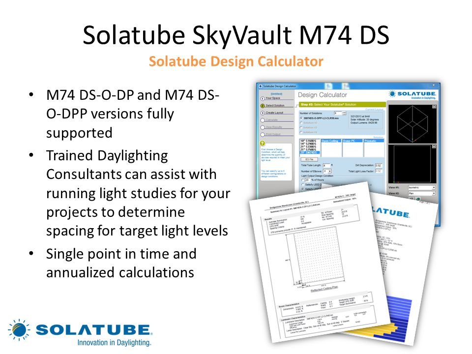 Solatube SkyVault M74 DS Solatube Design Calculator