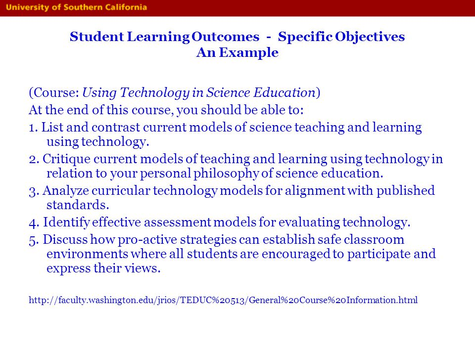 Student Learning Outcomes - Specific Objectives An Example