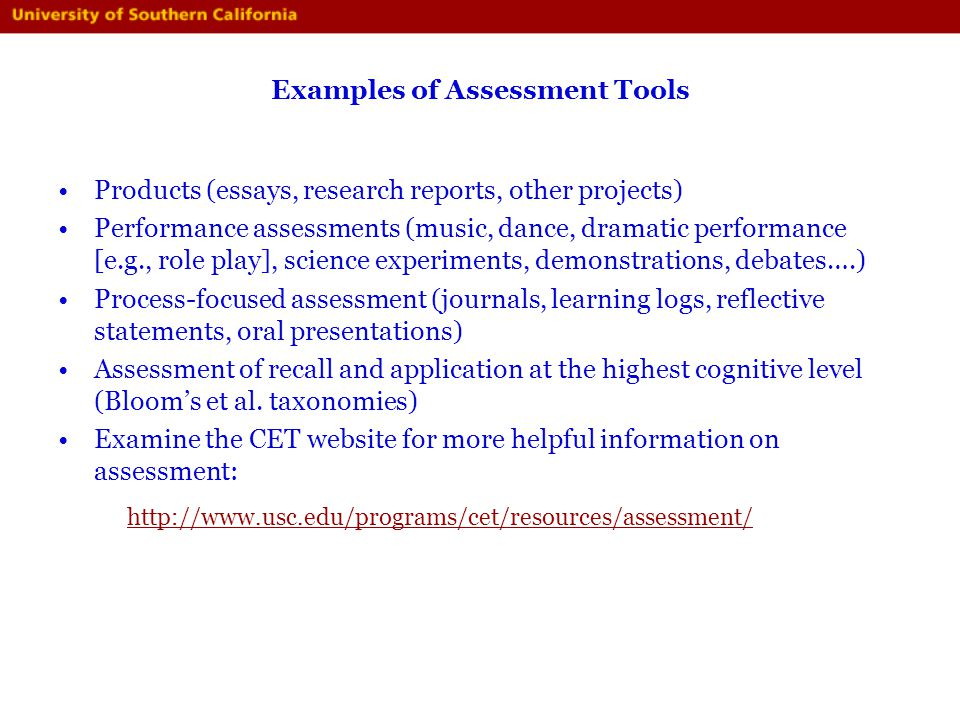 Examples of Assessment Tools